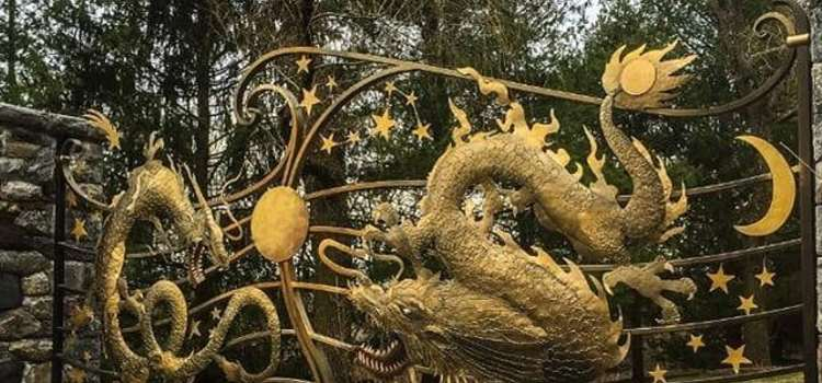 Full mythological creates driveway gate custom design tri state gate