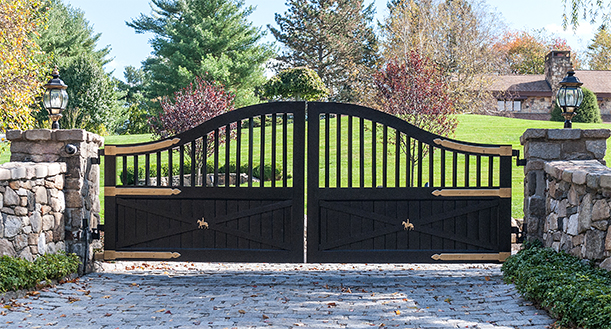 custom iron and wood driveway gate