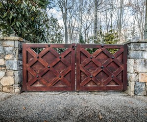 Vintage style wooden driveway gates