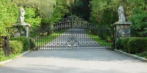 Little custom design wrought iron driveway gate lion statues tri state gate new york