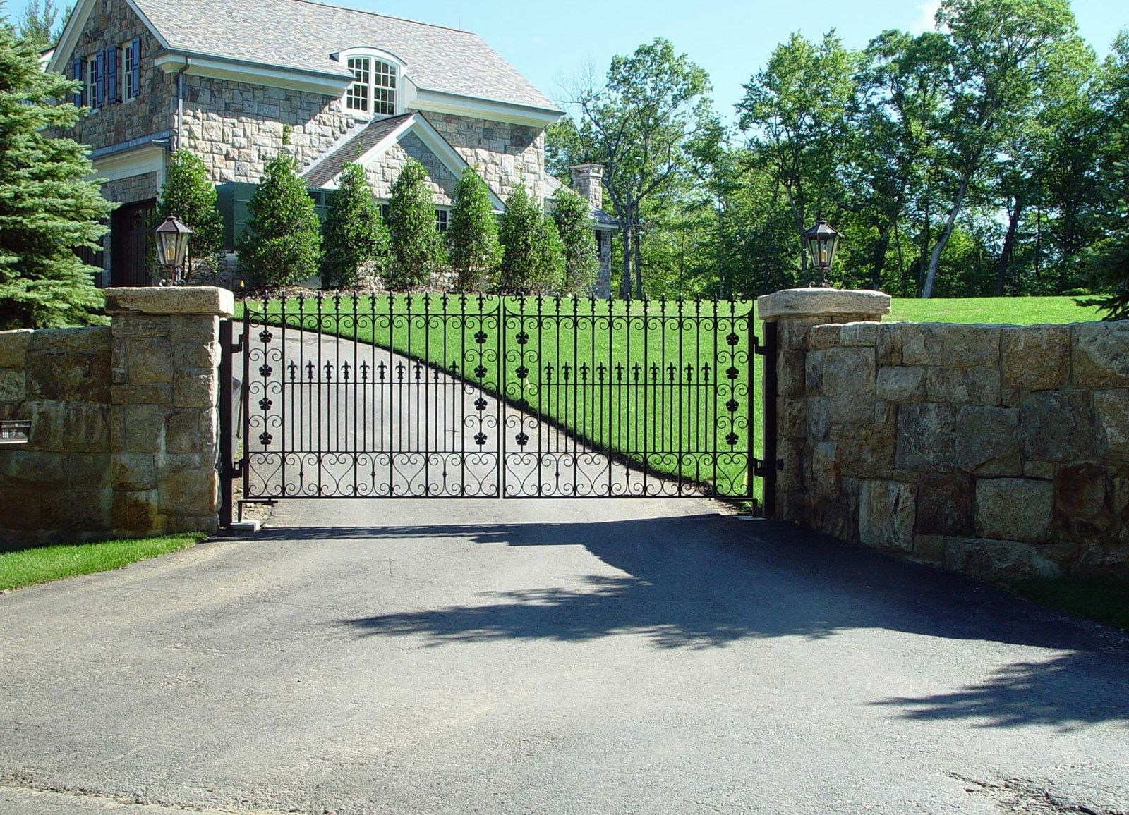 Wrought iron driveway gate decorate finials and collars