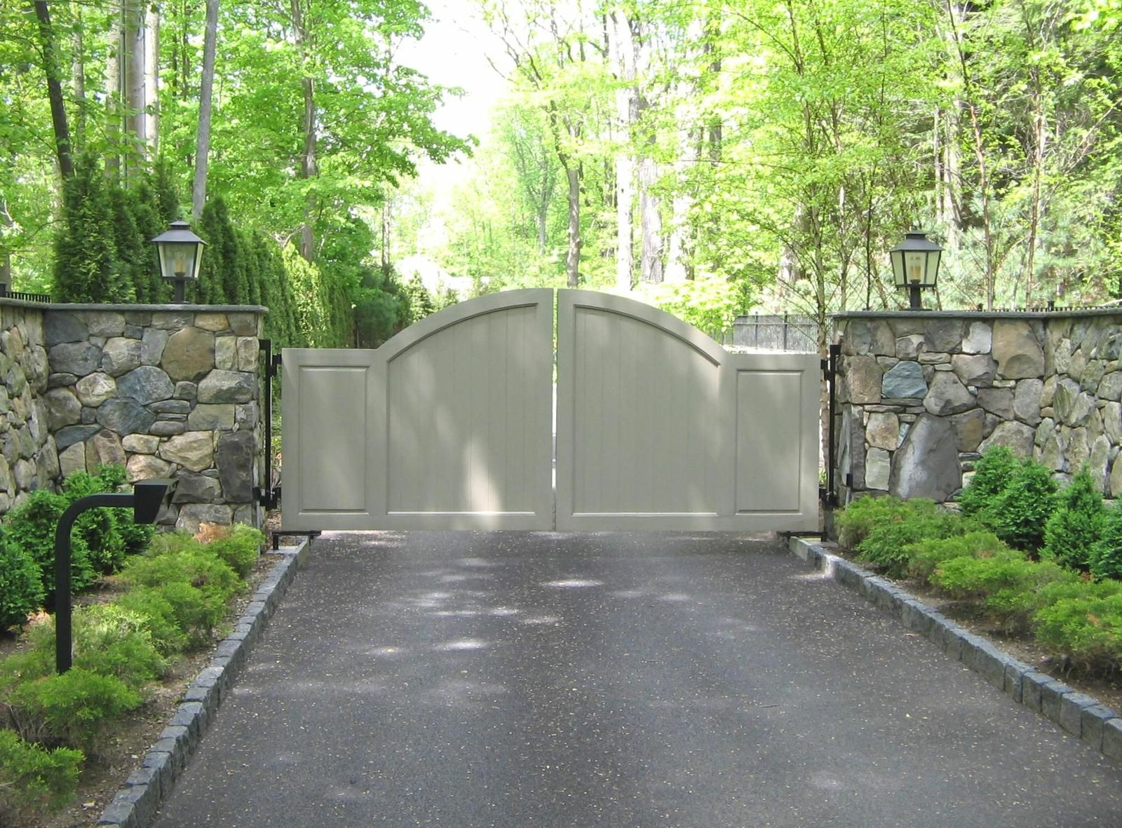 Painted composite solid front driveway gate